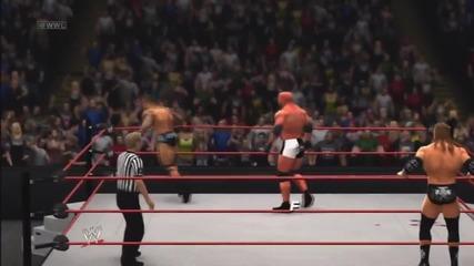 Wwe '13_ Goldberg vs Evolution (triple H, Randy Orton & Batista)