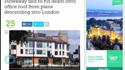 London: Stowaway Falls Death Onto Office Roof From Plane