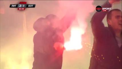 Атмосферата по трибуните при подновяването на битката между Литекс и Ботев Пловдив