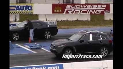 Dodge Challenger Срещу Infiniti Ex35 Кой ли е победител .. ?