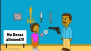 Dora's dad's wall of weapons and stuff
