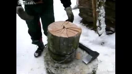 Най-бързият начин за цепене на дърва