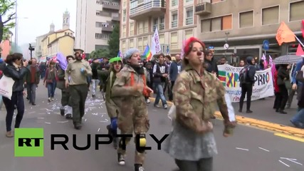 Italy: Protesters hold May Day rally against 'Expo Milano 2015'