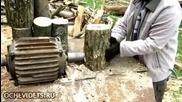 Руски начин за цепене на дърва