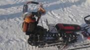 Идеално за тежки зимни условия! Направи си сам моторна шейна от старата резачка!