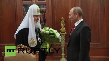 Путин поднася двойно поздравление на патриарх Кирил