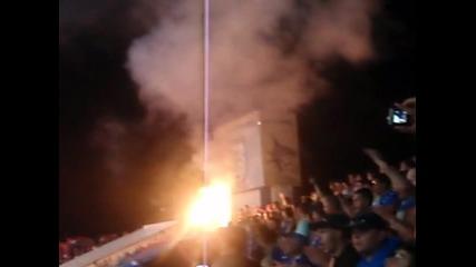 Сектор Б на мача Черноморец - Левски