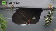 Huge Sinkhole Swallows Car in Catania