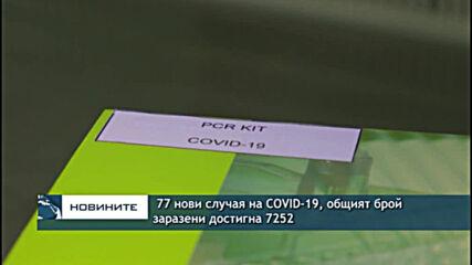 77 нови случая на COVID-19, общият брой заразени достигна 7252
