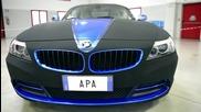 Car wrap Blue Chrome vinyl and Black Matt Nubuck - Apa