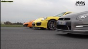 Porsche 911 Turbo S vs Mclaren Mp4 12c vs Nissan Gtr