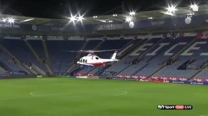 Собственикът на Лестър си тръгва от стадиона с хеликоптер, след загубата с 3:1 от Ливърпул