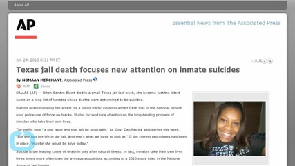 Texas Jail Death Focuses New Attention on Inmate Suicides