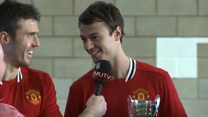 Manchester United Christmas challenges_ Carrick_ Evans and Fabio -