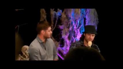 Jensen Ackles and Jared Padalecki talking about tattoos - Supernatural Burcon 2013