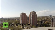 Ukraine: Smoke rises in Donetsk's Kievsky residential district