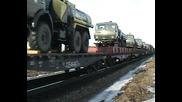 Дизелов локомотив - 3тэ10у с товарен влак.