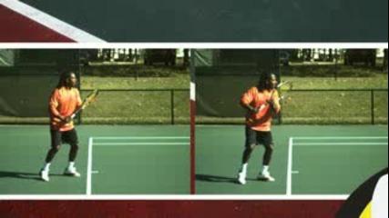 Тенис уроци : Хващане на високи топки от форхенд