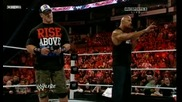 Джон Сина и Скалата пребиват Миз и Трут Raw 14.11.2011