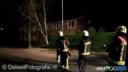Куче помага на пожарникари