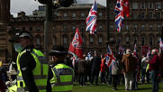 UK: Independence and pro-Union activists rally peacefully at Glasgow's George Square