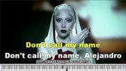 Lady Gaga - Alejandro Karaoke - Instrumental version with lyrics on the screen