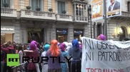 Spain: High street shops damaged in protest decrying patriarchy & capitalism