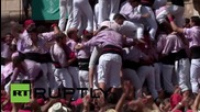 Spain: Teams compete to create largest human tower at Saint Felix fesitival