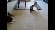 Бебе се радва на куче Смях