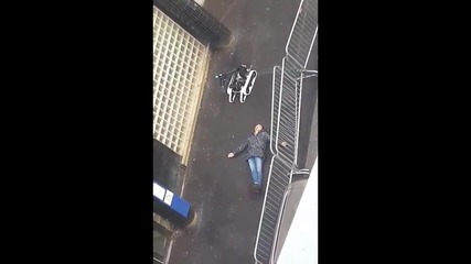 France: Footage shows dead knife-wielding assailant in Paris *GRAPHIC*