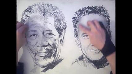 Рисуване на два портрета с две ръце едновременно