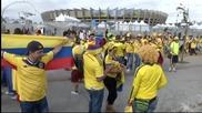 Настроението сред феновете на Колумбия и Гърция преди началото на мача