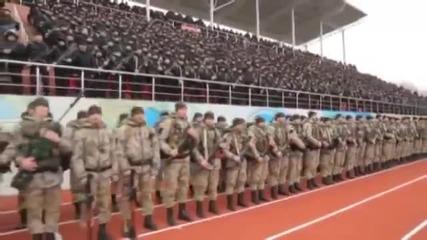 Кадиров каза, че Русия е готова за война, и войниците се събраха на стадиона !!!