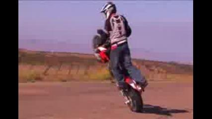 Supermoto stunt on aprilia