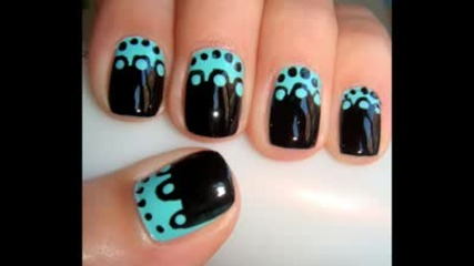 Black and Teal Nail Design for Short Nails