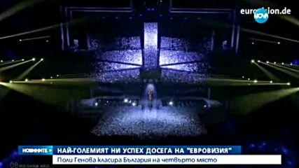 """Поли Генова класира България на четвърто място на """"Евровизия"""""""