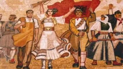 В едната ръка кирка, в другата пушка Nе njеrеn dorе kazmеn nе tjetrеn pushkеn Албанска песен