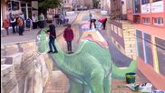 Живопис на асфалт — Триизмерно стрийт изкуство в Санкт Вендел