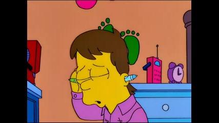 Хоумър пъха пастели в носа си