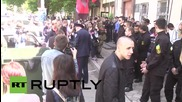Ukraine: Right Sector push and shove with police at Odessa protest