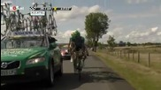 Tour De France 2011 stage 9 - car crashes into Juan Antonio Flecha and Johnny Hoogerland