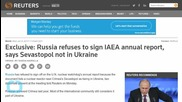 Russia Refuses to Sign IAEA Annual Report, Says Sevastopol not in Ukraine