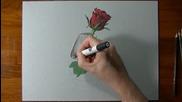 Страхотна реалистична рисунка на роза!