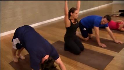 Trish Stratus teaches Schenn & Exelby Yoga
