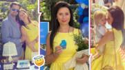 Звездните кръщенета продължават, щастливата мама заложи на жълта рокля за събитието