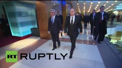 Путин пристигна в Армения за честването на 100-годишнината от арменския геноцид
