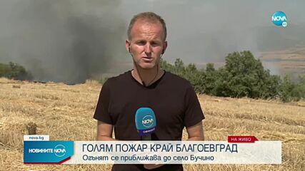 Голям пожар на метри от къщи в благоевградско село