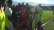 Кадри от дивия екшън в Корсика, прекратил мач от Лига 1