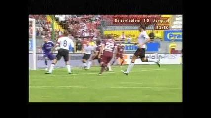 гол с пета на Мицанцки срещу Ливърпул