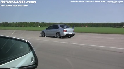 Mitsubishi Lancer Evo Ix Stage I 380 Hp vs Bmw 550i X-drive (f10, stock 4wd)